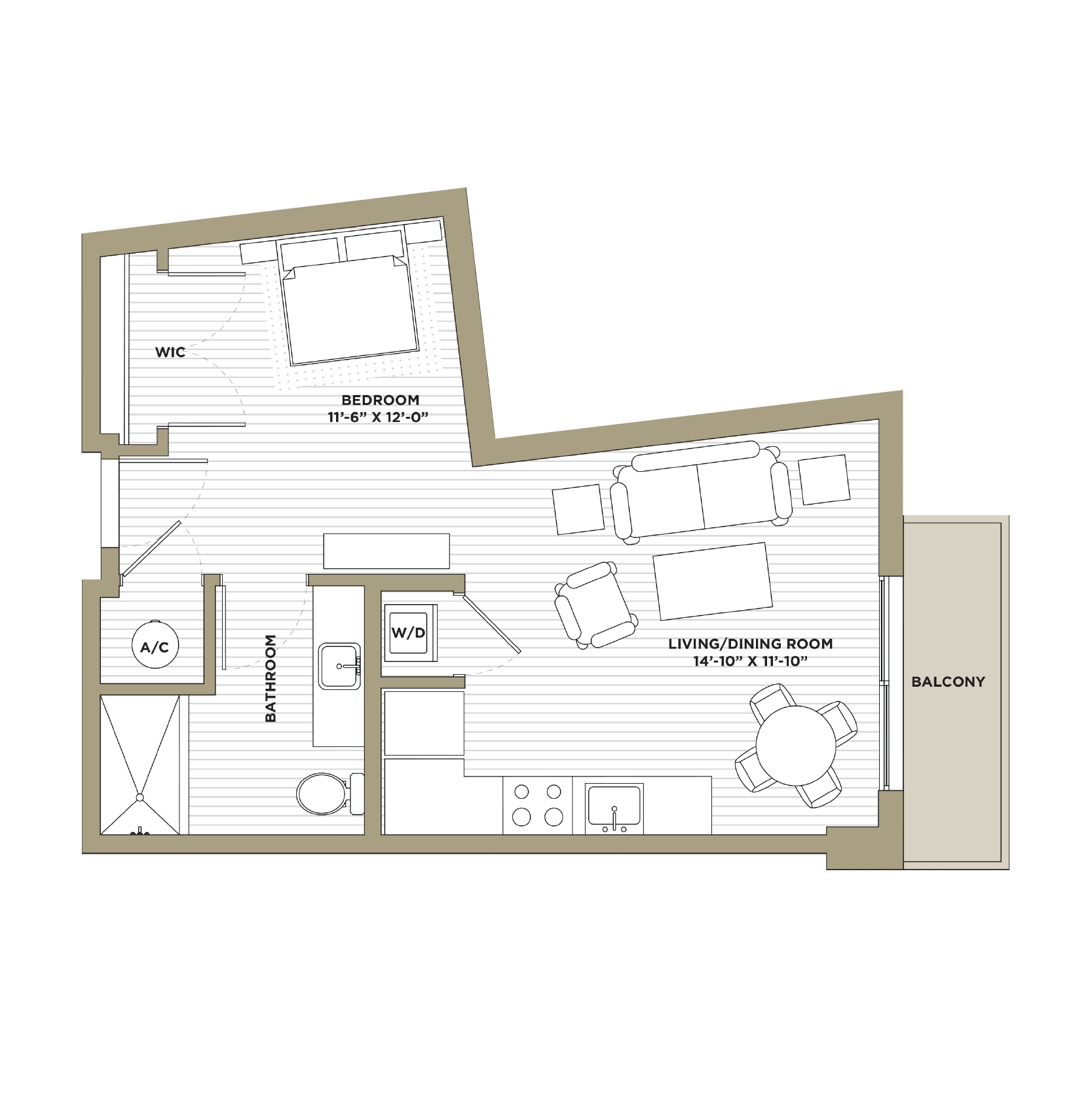 S2 - Studio / 1 Bathroom548 sq. ft.