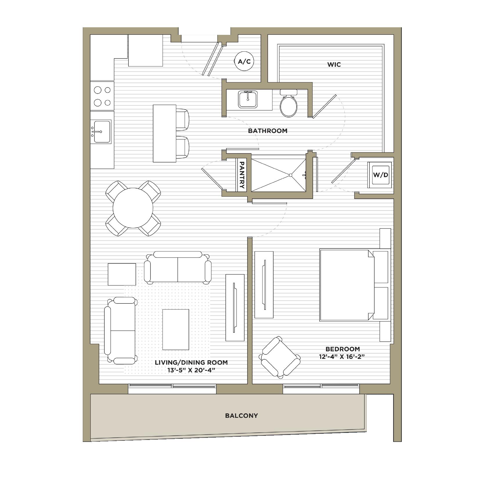 A1 / A10 - 1 Bedroom / 1 Bathroom855 / 861 sq. ft.