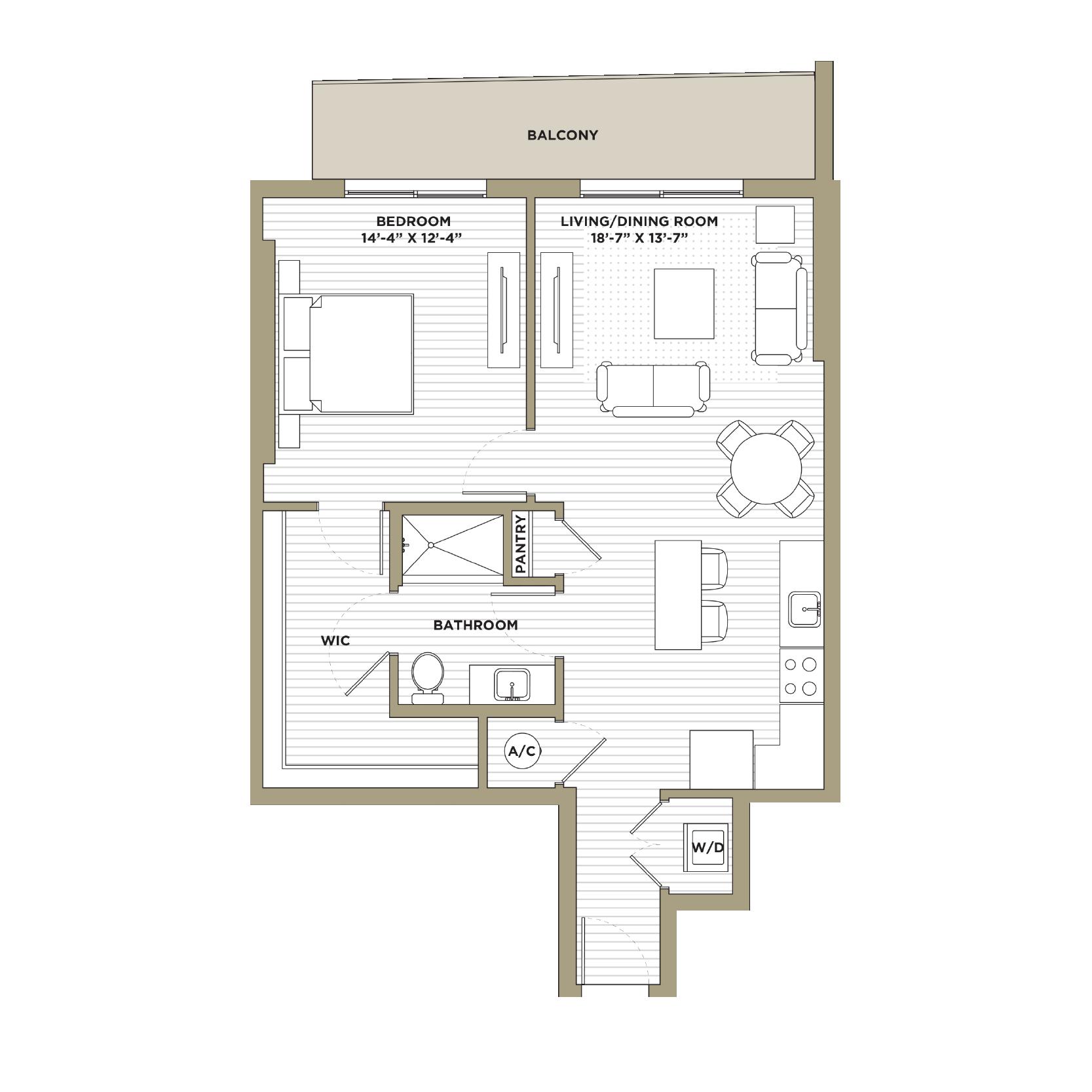 A2 - 1 Bedroom / 1 Bathroom851 sq. ft.