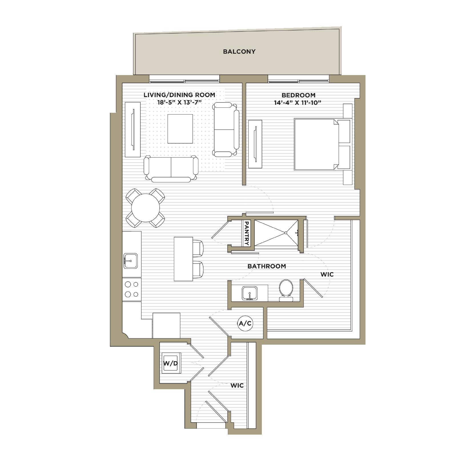 A2A / A16 - 1 Bedroom / 1 Bathroom889 / 898 sq. ft.