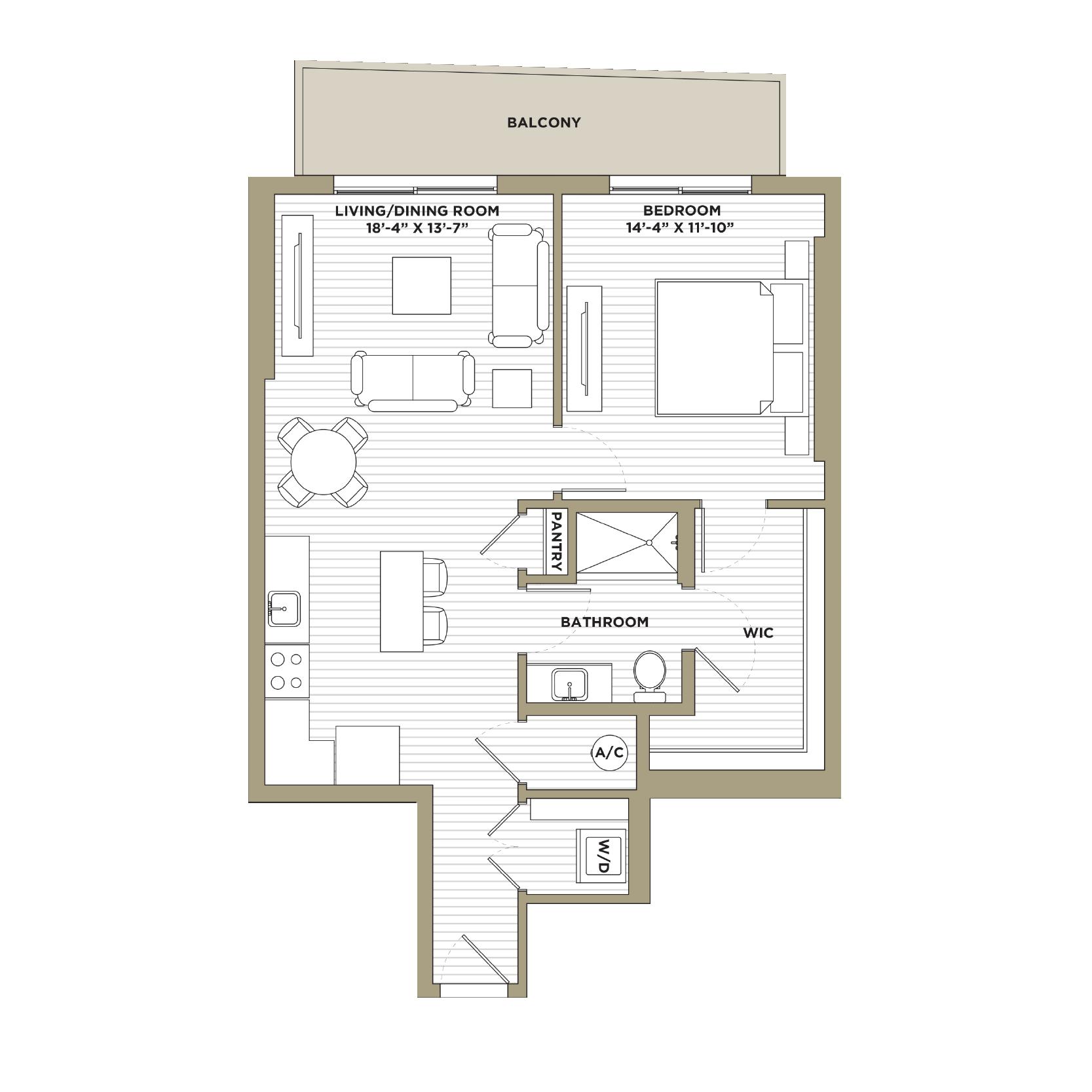A3 - 1 Bedroom / 1 Bathroom861 sq. ft.