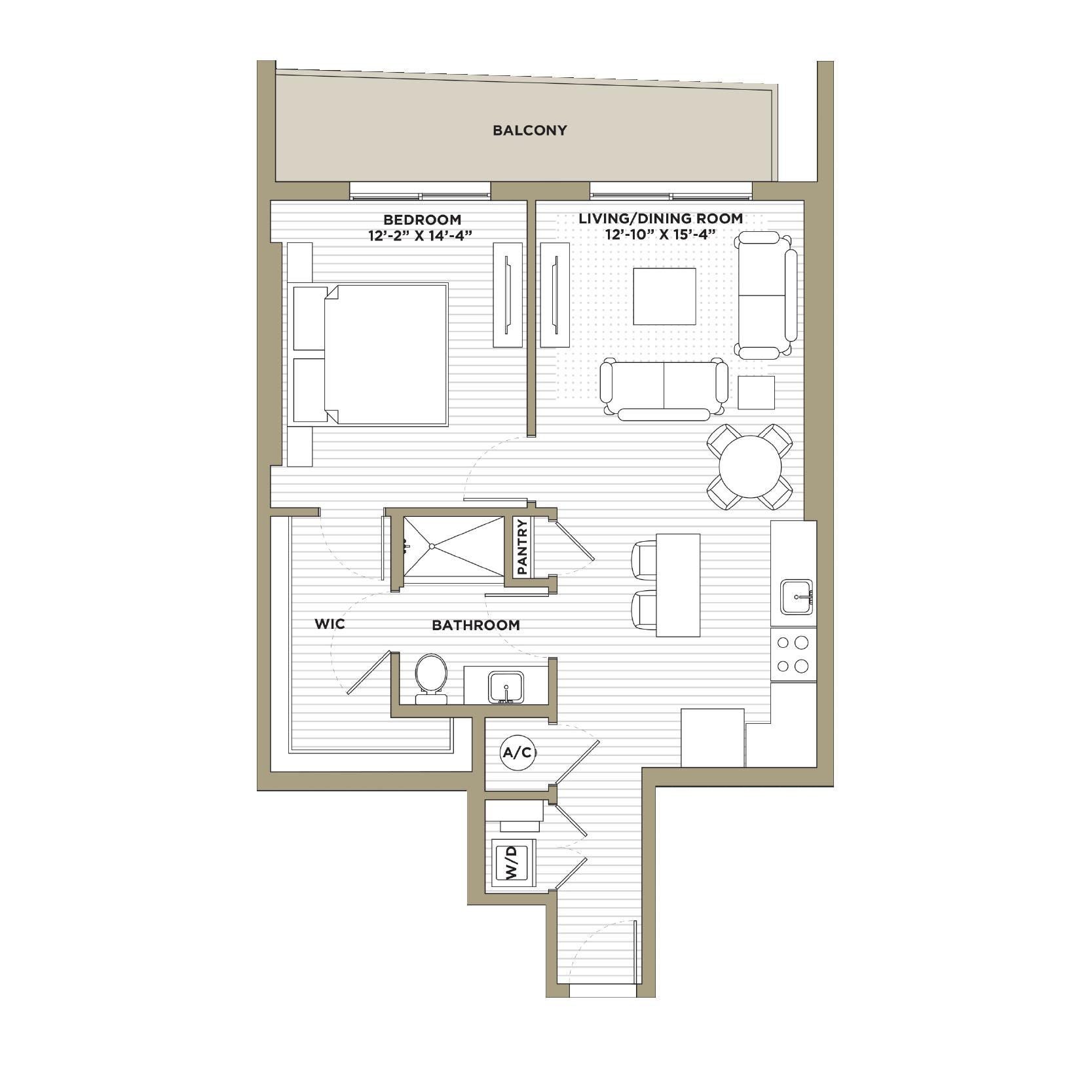 A3A - 1 Bedroom / 1 Bathroom830 sq. ft.