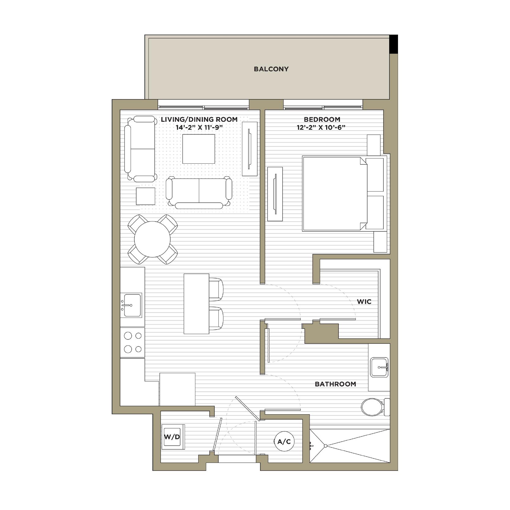 A4 - 1 Bedroom / 1 Bathroom707 sq. ft.