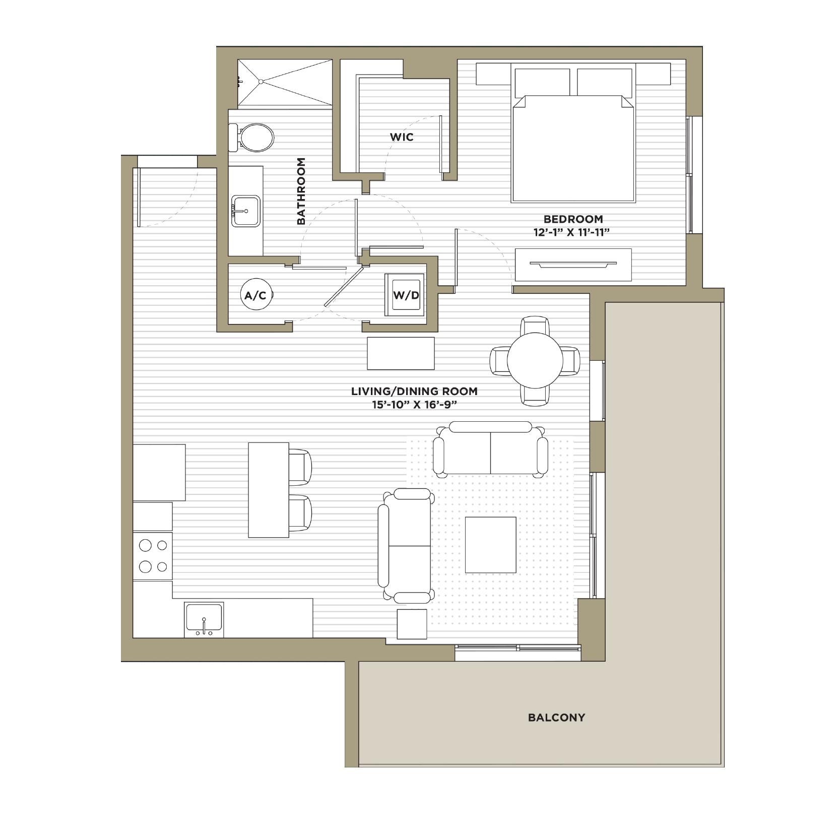 A5 - 1 Bedroom / 1 Bathroom860 sq. ft.