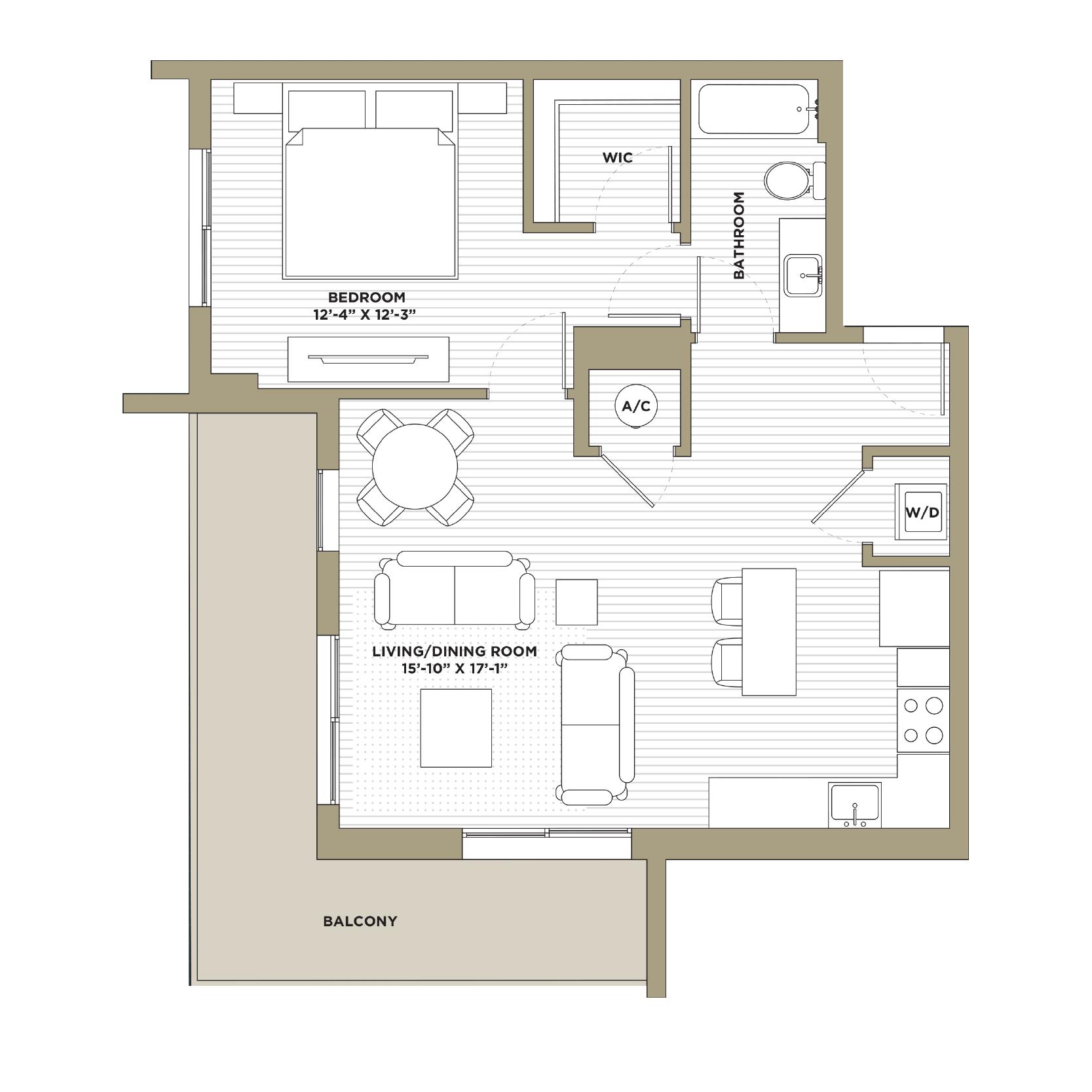 A6 - 1 Bedroom / 1 Bathroom814 sq. ft.
