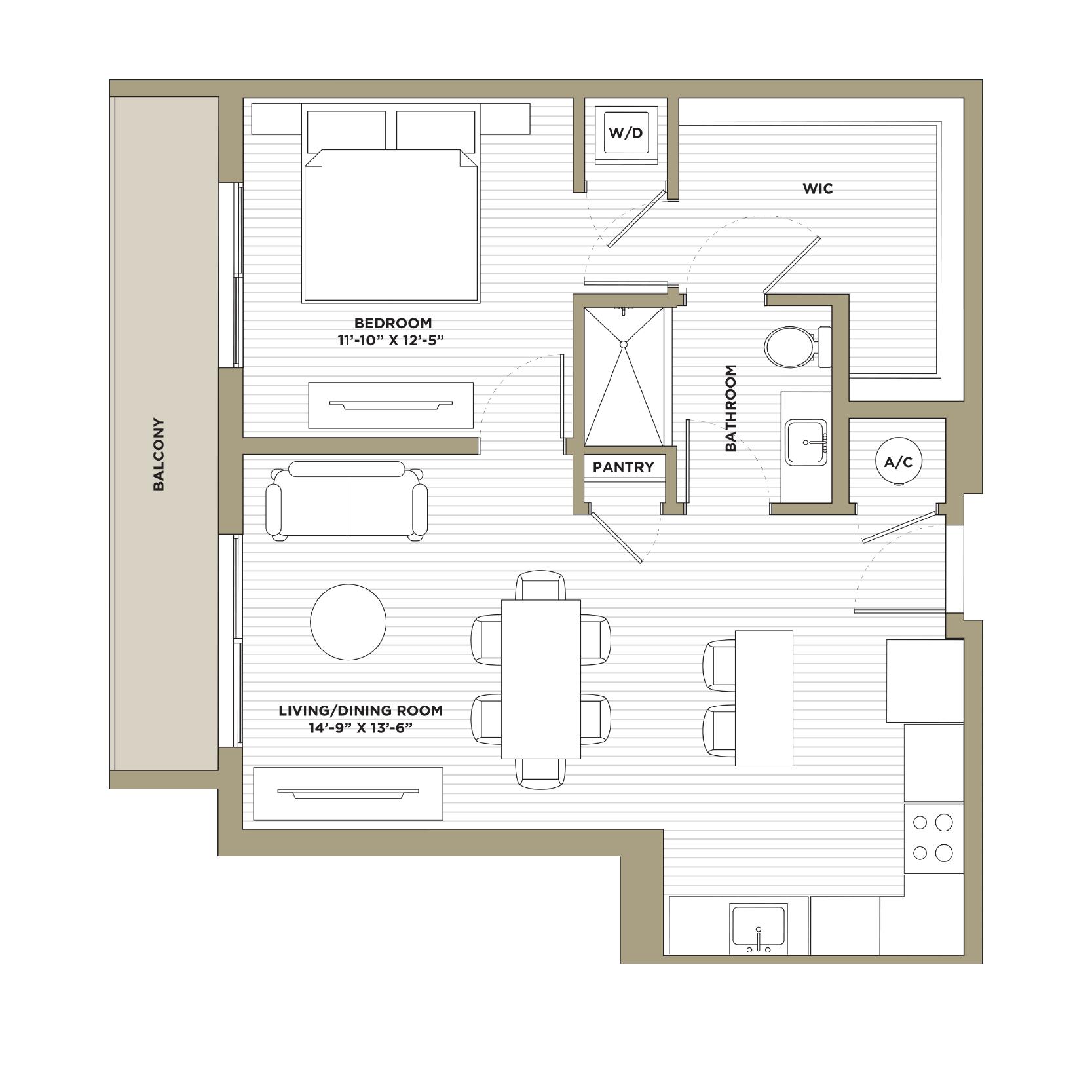 A7 - 1 Bedroom / 1 Bathroom809 sq. ft.