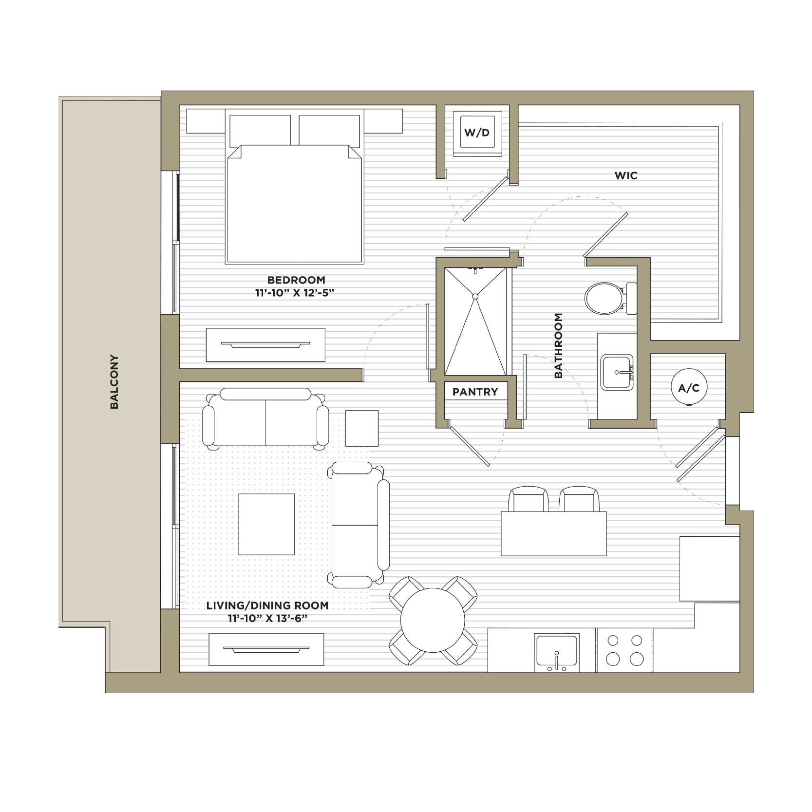 A7A - 1 Bedroom / 1 Bathroom752 sq. ft.