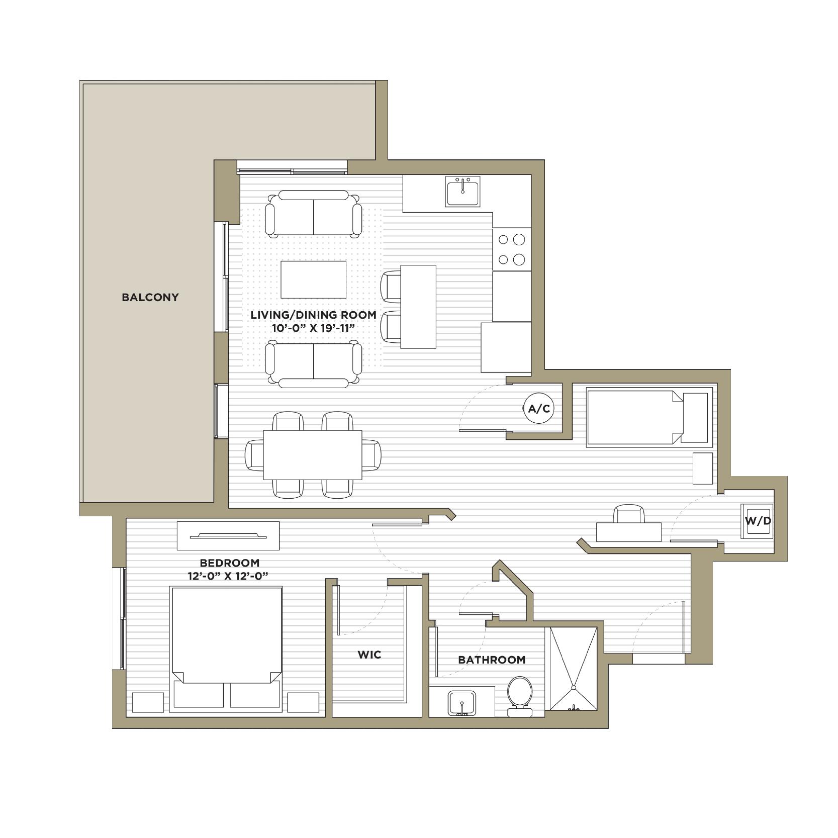 A8 - 1 Bedroom / 1 Bathroom973 sq. ft.