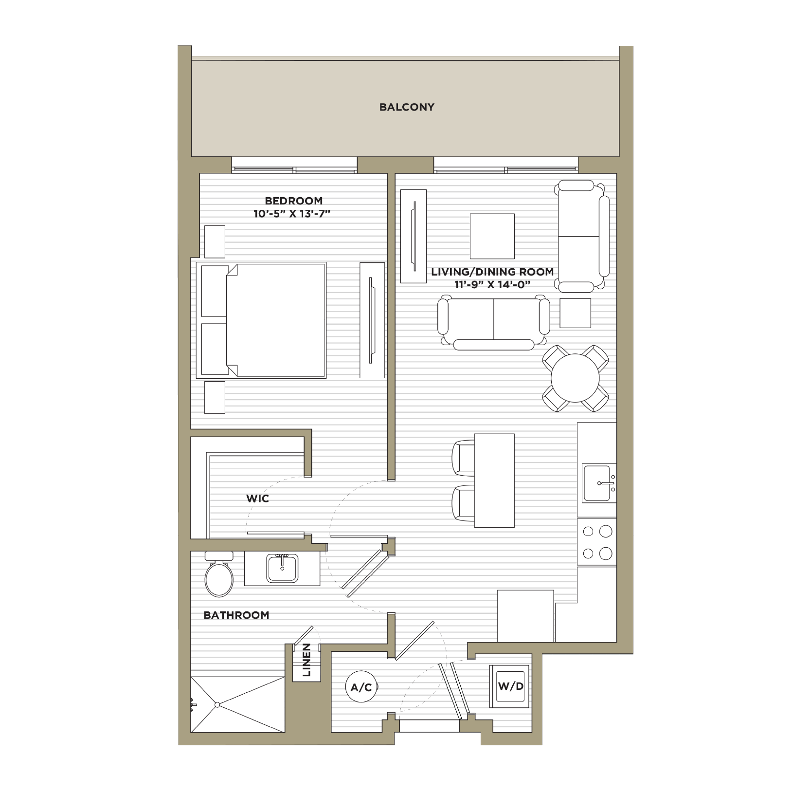 A9 - 1 Bedroom / 1 Bathroom728 sq. ft.