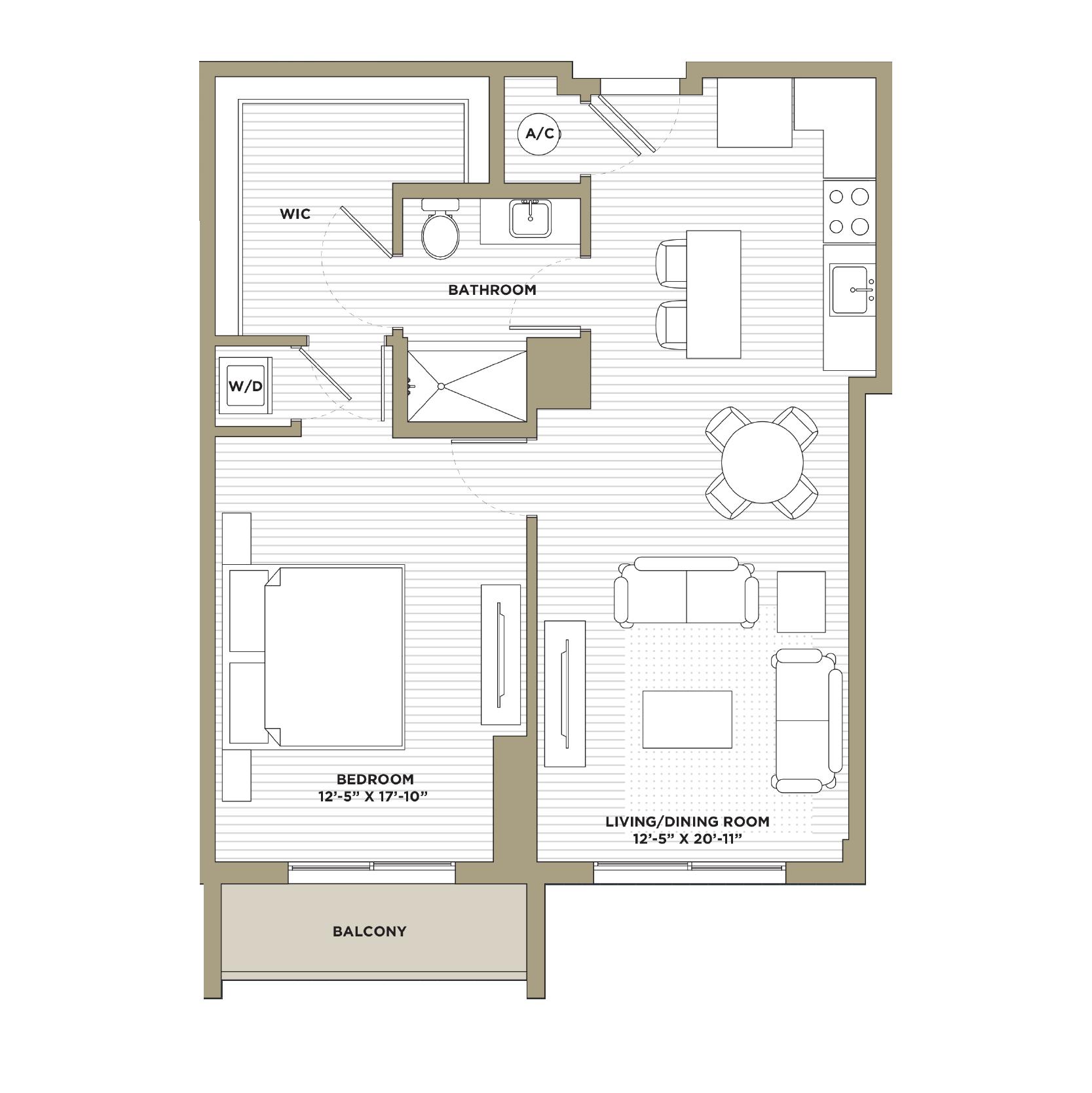 A12 - 1 Bedroom / 1 Bathroom816 sq. ft.