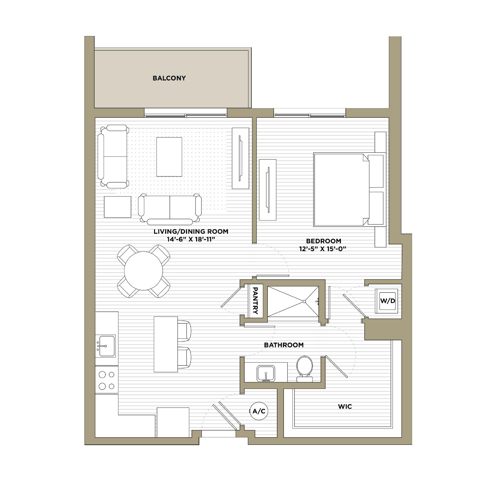 A13 - 1 Bedroom / 1 Bathroom893 sq. ft.
