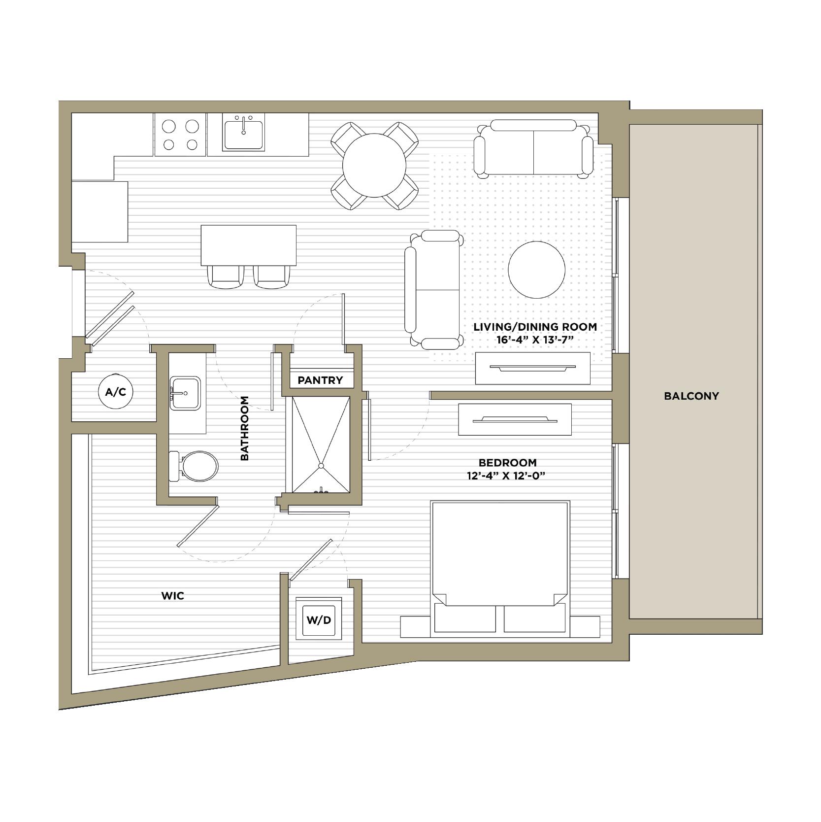 A14 - 1 Bedroom / 1 Bathroom779 sq. ft.