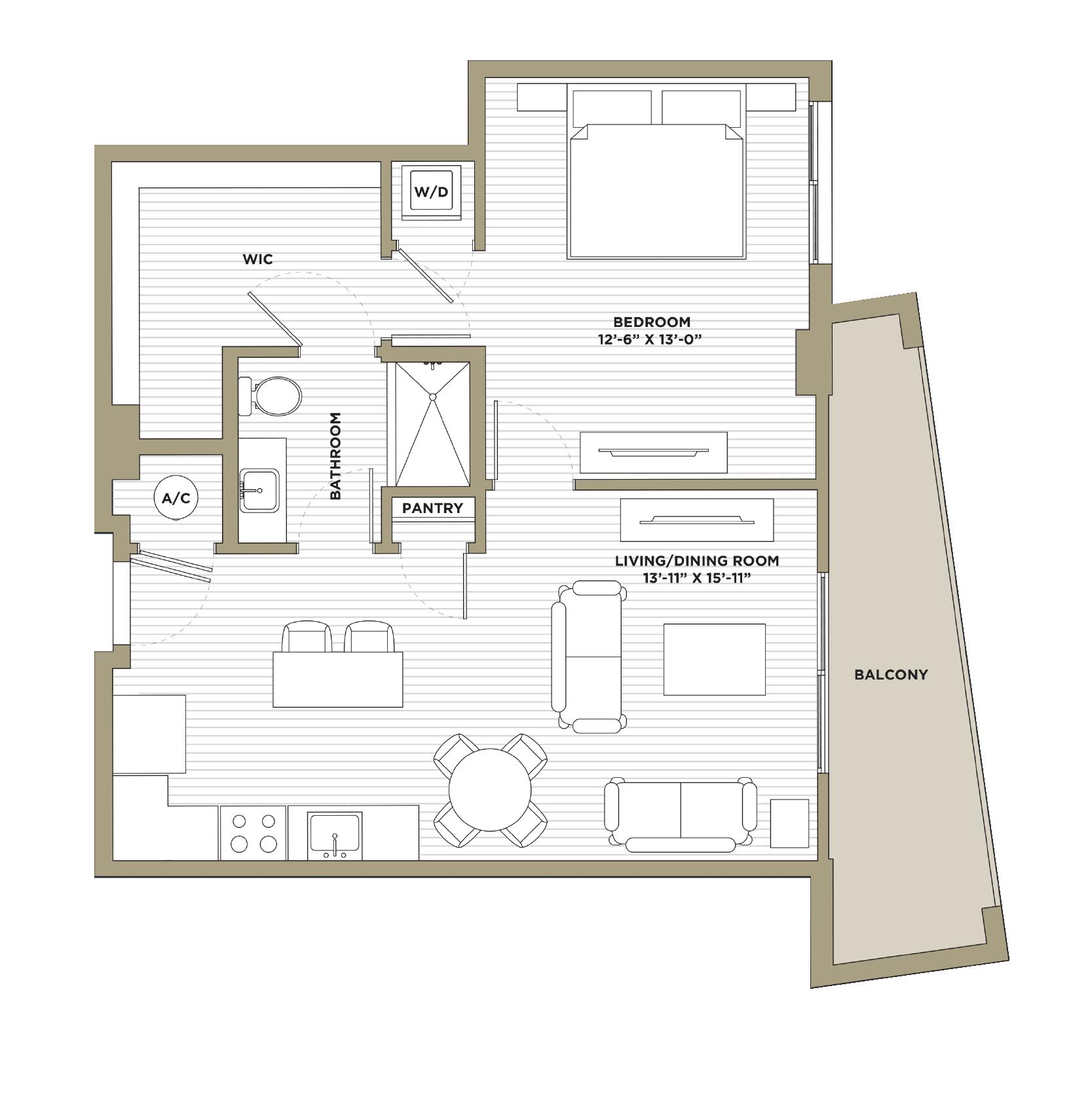 A15 - 1 Bedroom / 1 Bathroom811 sq. ft.