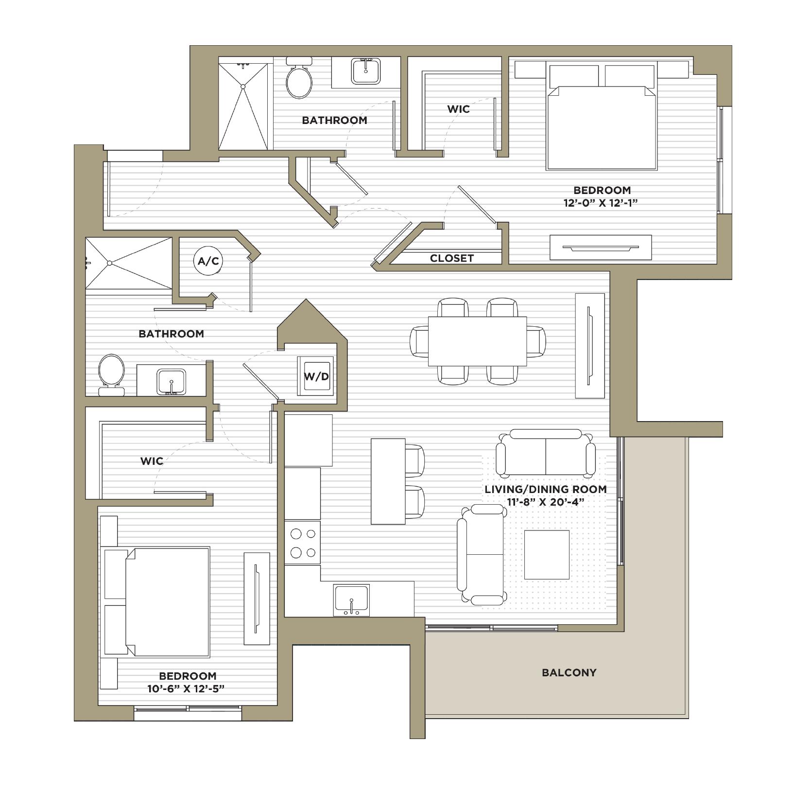 B1 - 2 Bedroom / 2 Bathroom1,160 sq. ft.