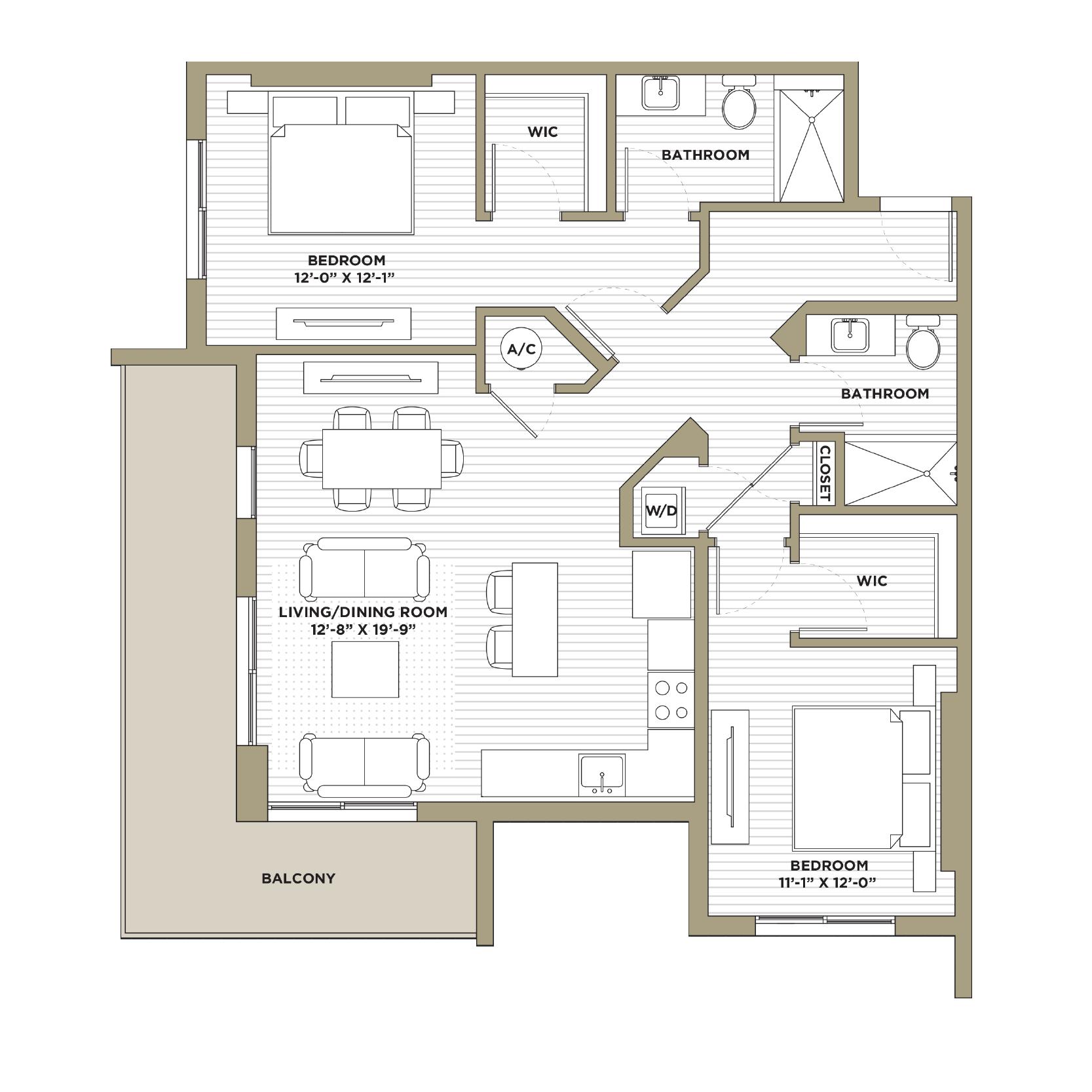 B2 / B8 - 2 Bedroom / 2 Bathroom1,156 / 1,195 sq. ft.