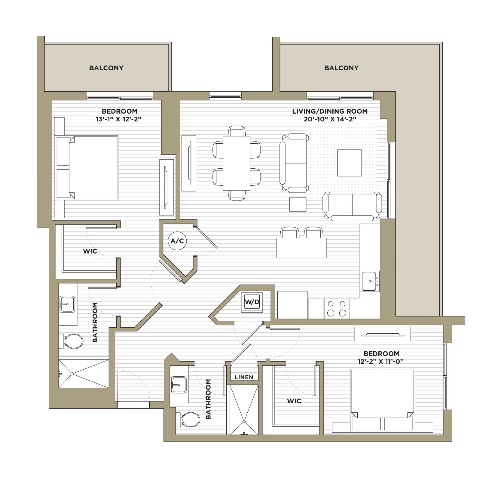 B2A - 2 Bedroom / 2 Bathroom1,241 sq. ft.