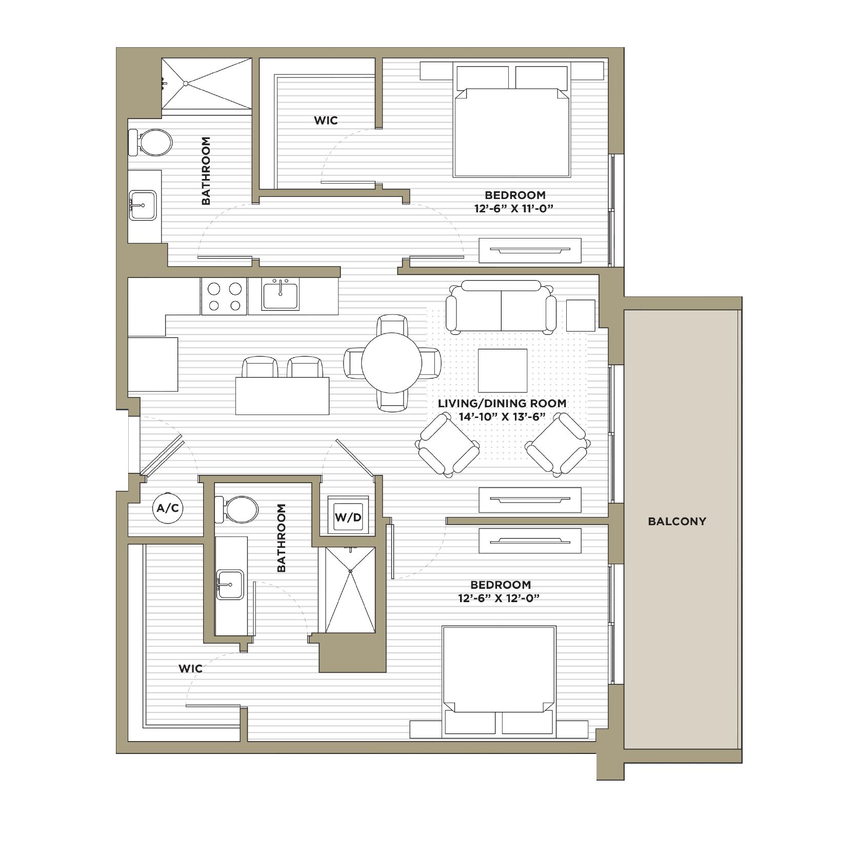 B3 - 2 Bedroom / 2 Bathroom1,082 sq. ft.