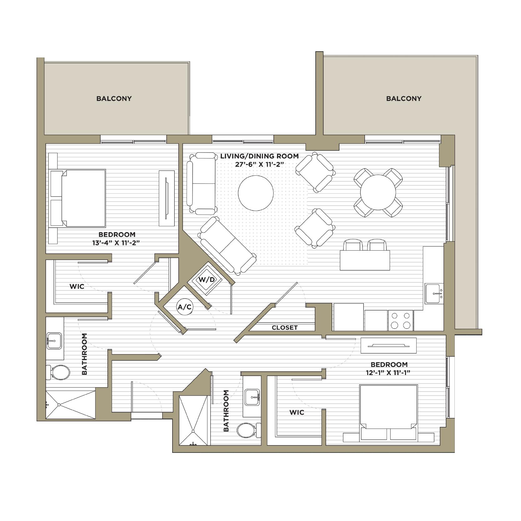 B4 - 2 Bedroom / 2 Bathroom1,280 sq. ft.