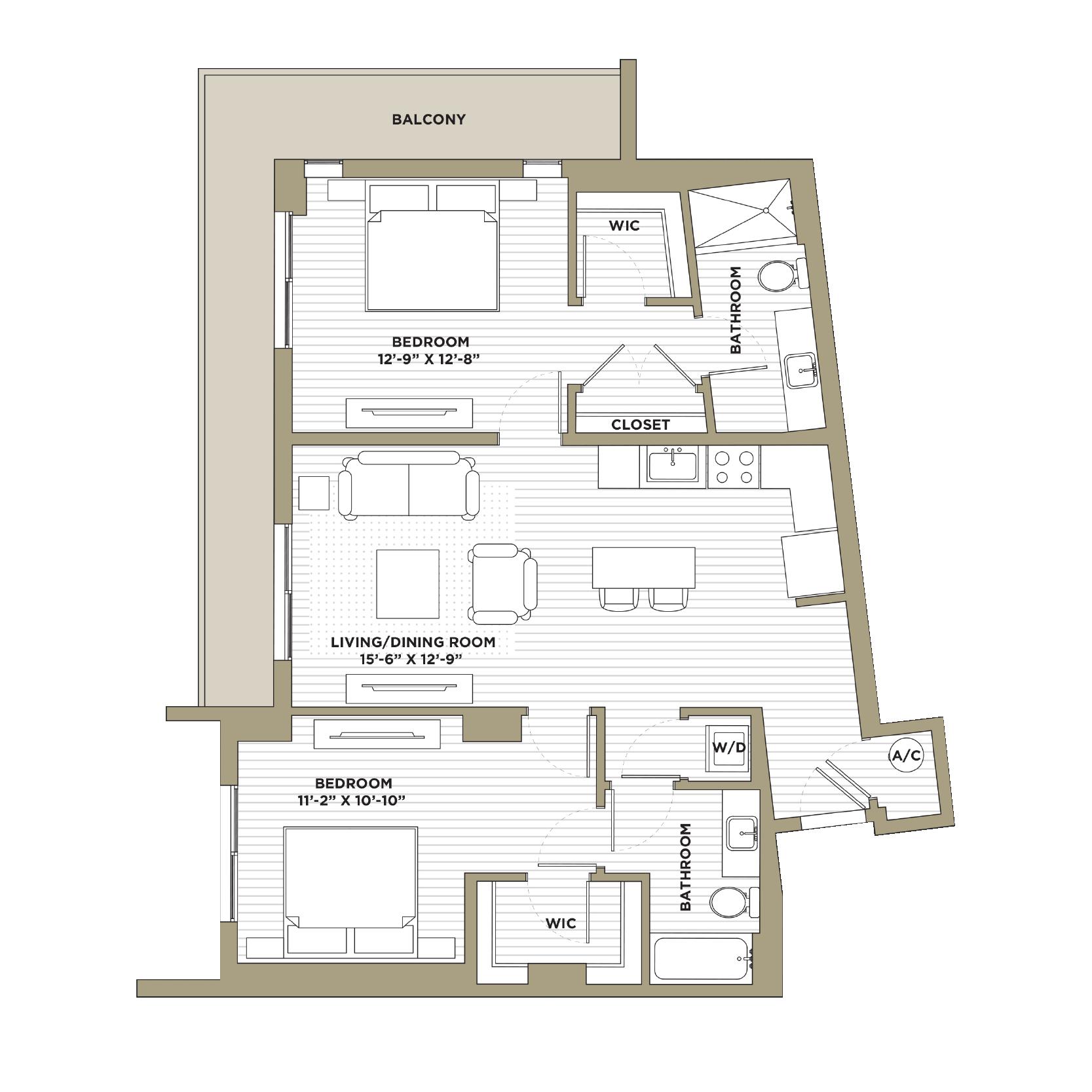 B5 / B5A - 2 Bedroom / 2 Bathroom1,152 / 1,151 sq. ft.