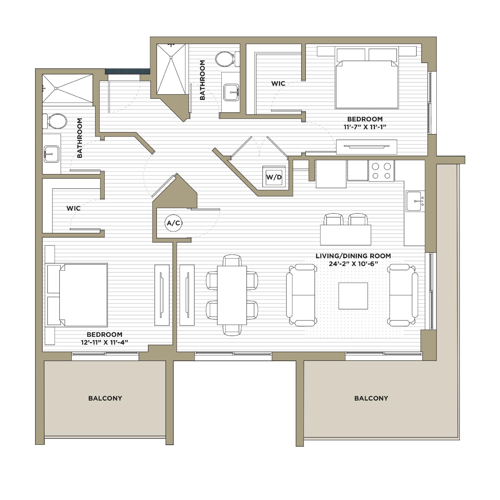 B6 - 2 Bedroom / 2 Bathroom1,216 sq. ft.