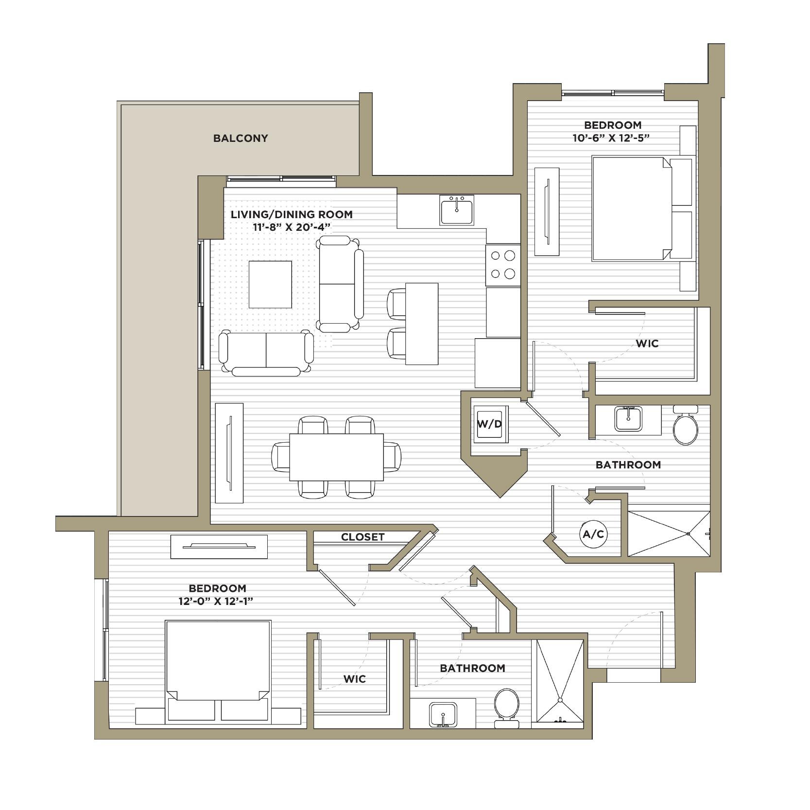 B7 - 2 Bedroom / 2 Bathroom1,179 sq. ft.