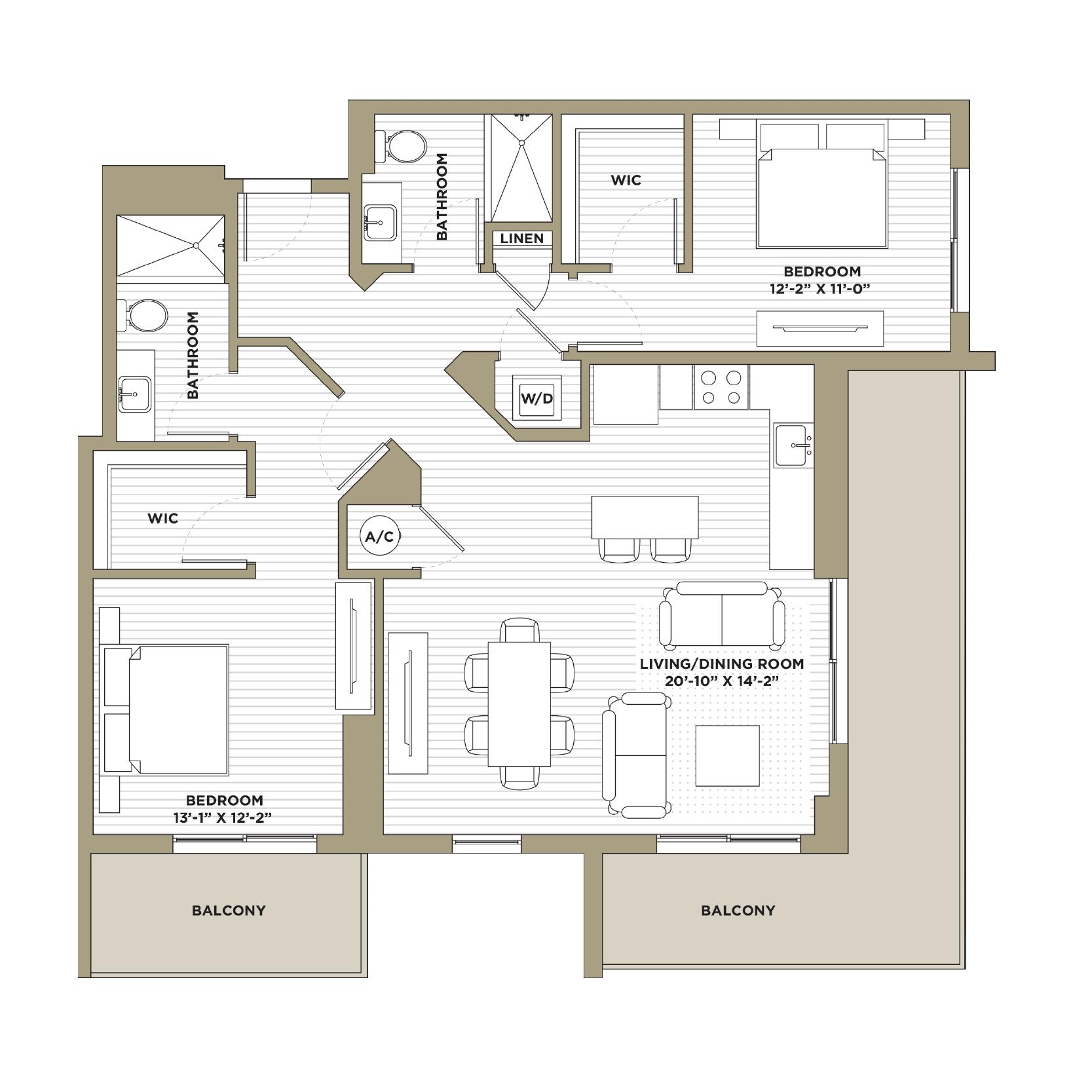 B9 - 2 Bedroom / 2 Bathroom1,238 sq. ft.