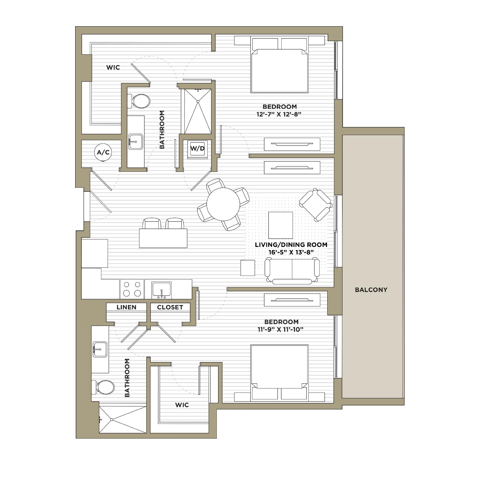 B10 - 2 Bedroom / 2 Bathroom1,174 sq. ft.