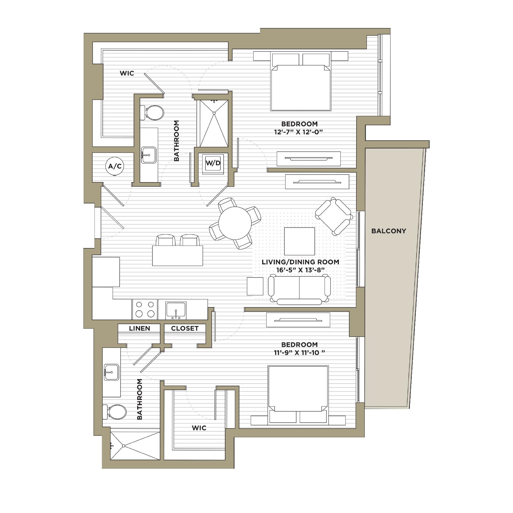 B11 - 2 Bedroom / 2 Bathroom1,199 sq. ft.