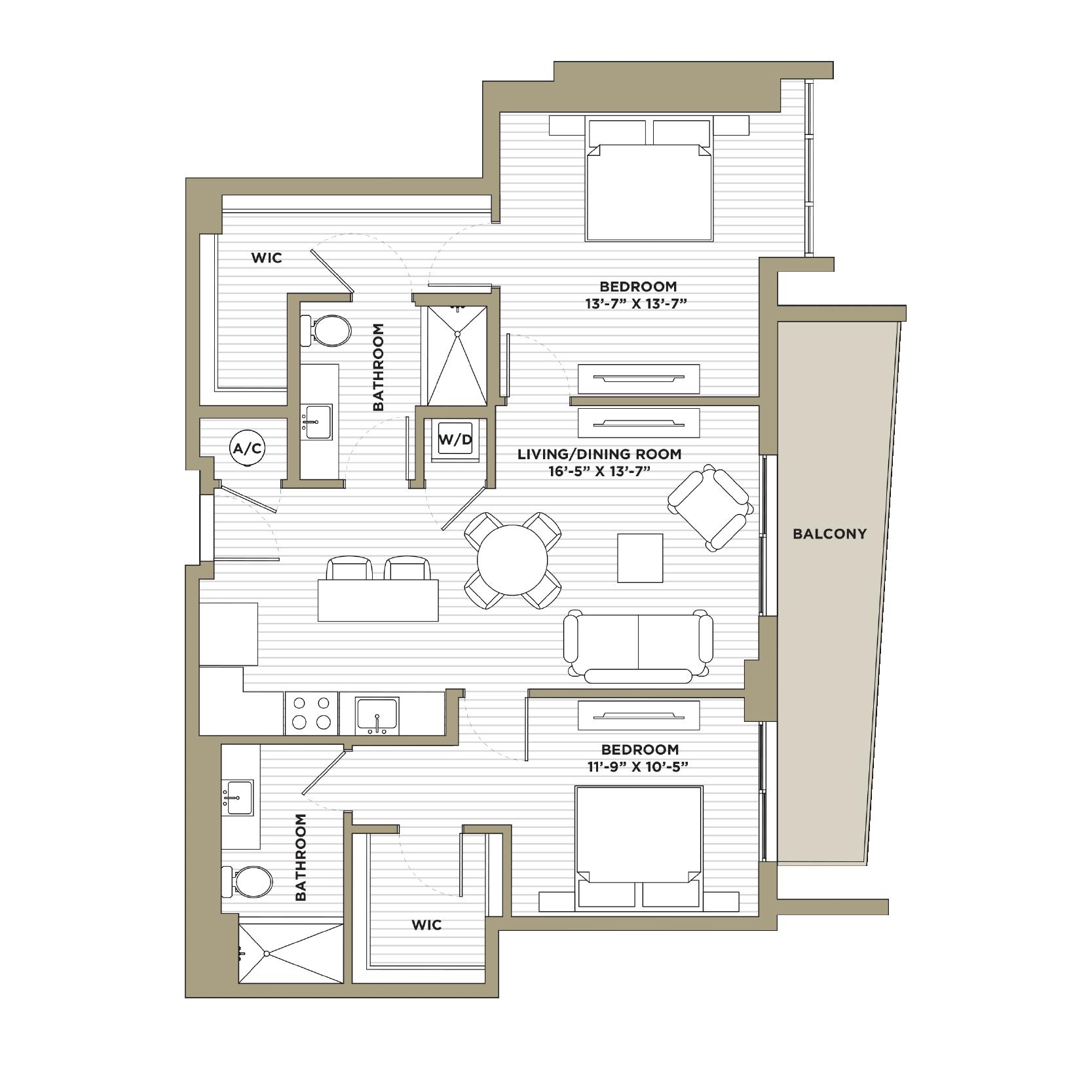 B12 - 2 Bedroom / 2 Bathroom1,126 sq. ft.