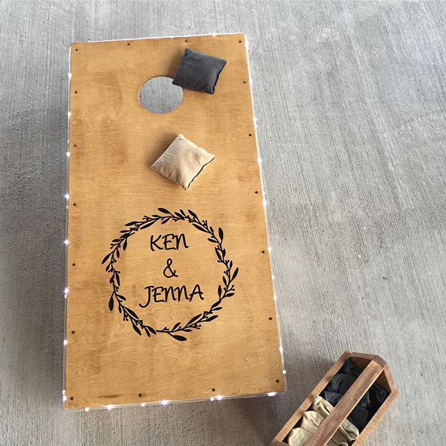 How cute are these personalized cornhole boards?! #weddinginspo * * * #vinooasi #vinooasiwedding #wedding #vineyardwedding #venue #weddingplanner #weddingplanning #farm #bride #groom #bridesmaids #groomsmen #love #specialday #northcarolina #bridetobe #engaged #gettingmarried #ncweddingvenue #ncwedding #eventplanner #eventvenue #weddingphotography #photography #celebrate #weddinginspiration #weddinggoals #weddingvenue