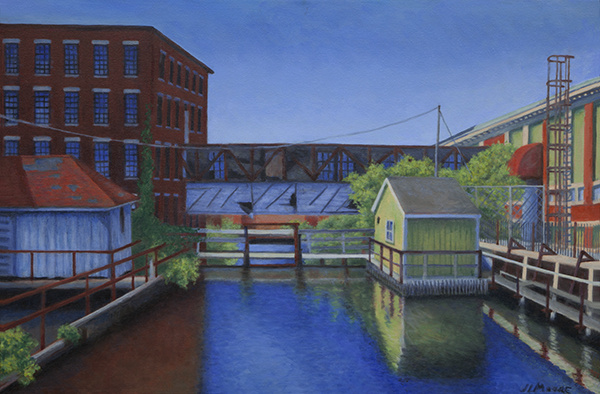 "Bates Mill Upper Canal   24"" x 36"" Oil on Canvas"