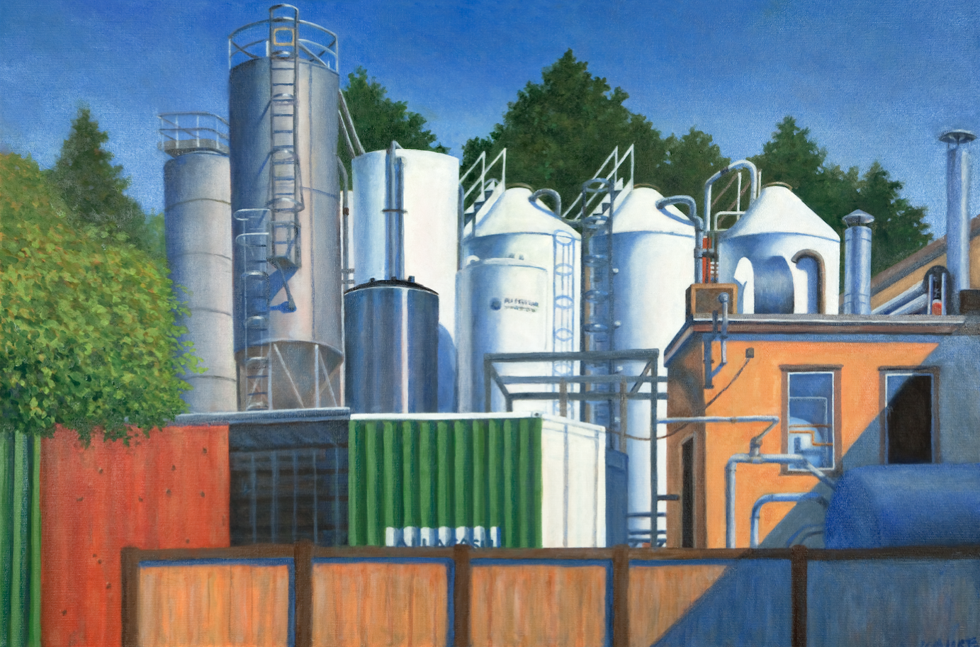 "Beer Plant, Portland   24"" x 36"" Oil on Canvas"