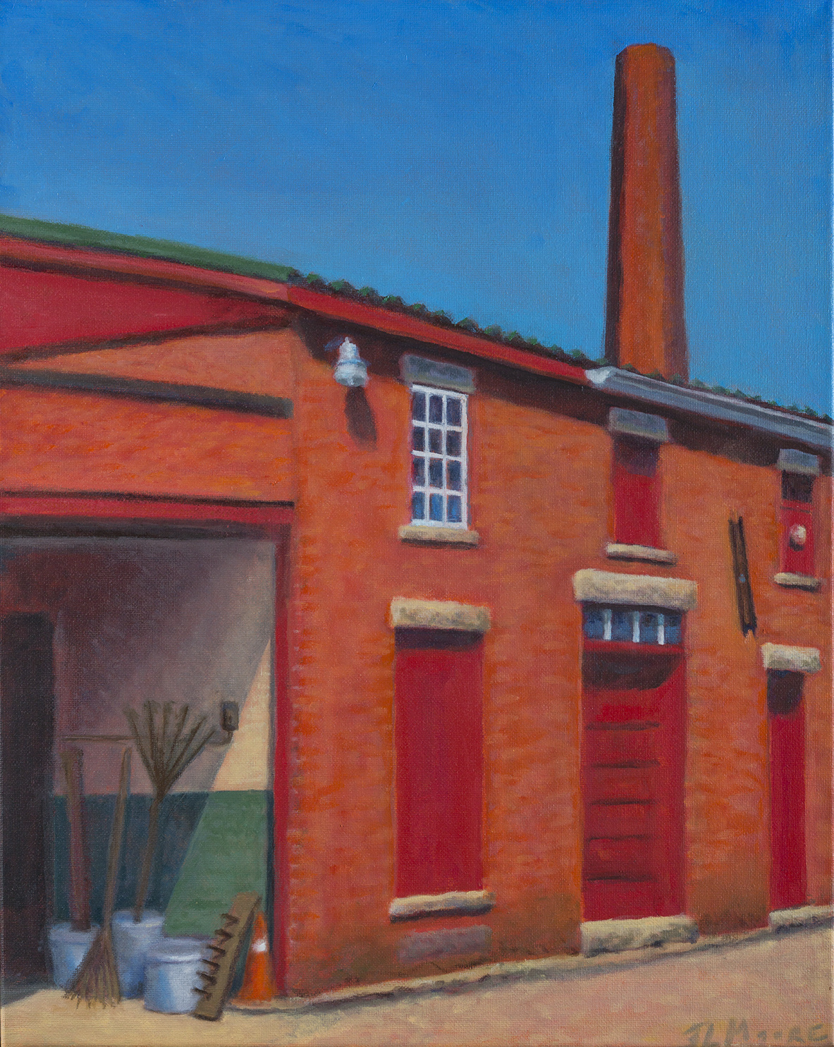 "Hill MFG Garage, Lewiston   20"" x 16"" Oil on canvas"