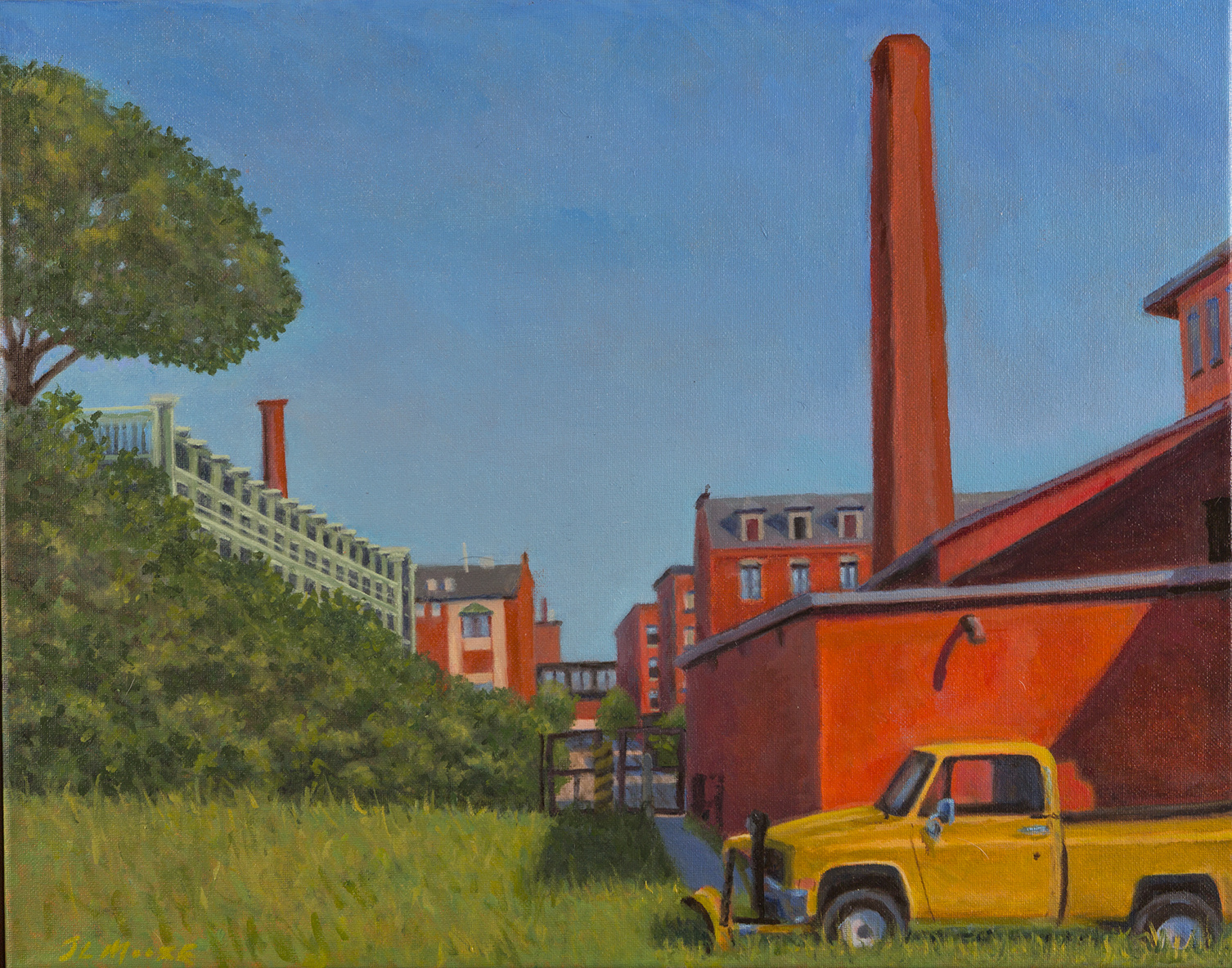 "Hill Mill Boiler (Yellow Plow in Summer), Lewiston   16"" x 20"" Oil on canvas"