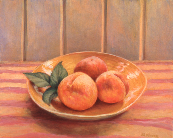 """Peaches In Yellow Bowl   20"""" x 24"""" Oil on Canvas"""