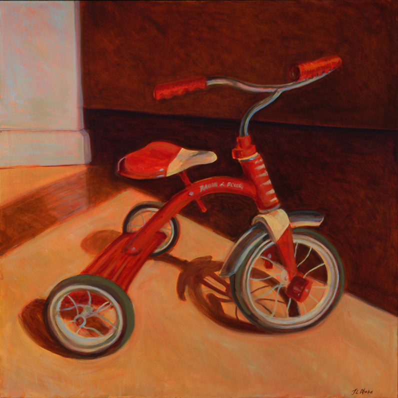 """The Trike That Ruthie Gave Me   40"""" x 40"""" Oil on Canvas"""