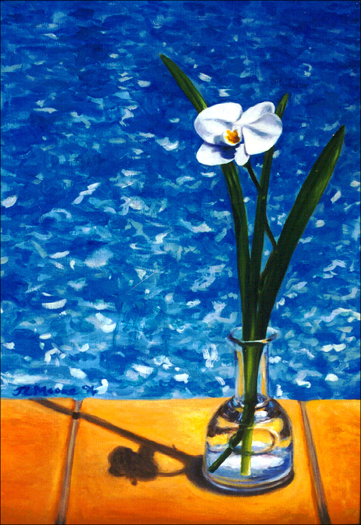 """Pool Orchid   24"""" x 16"""" Oil on Mahogany"""