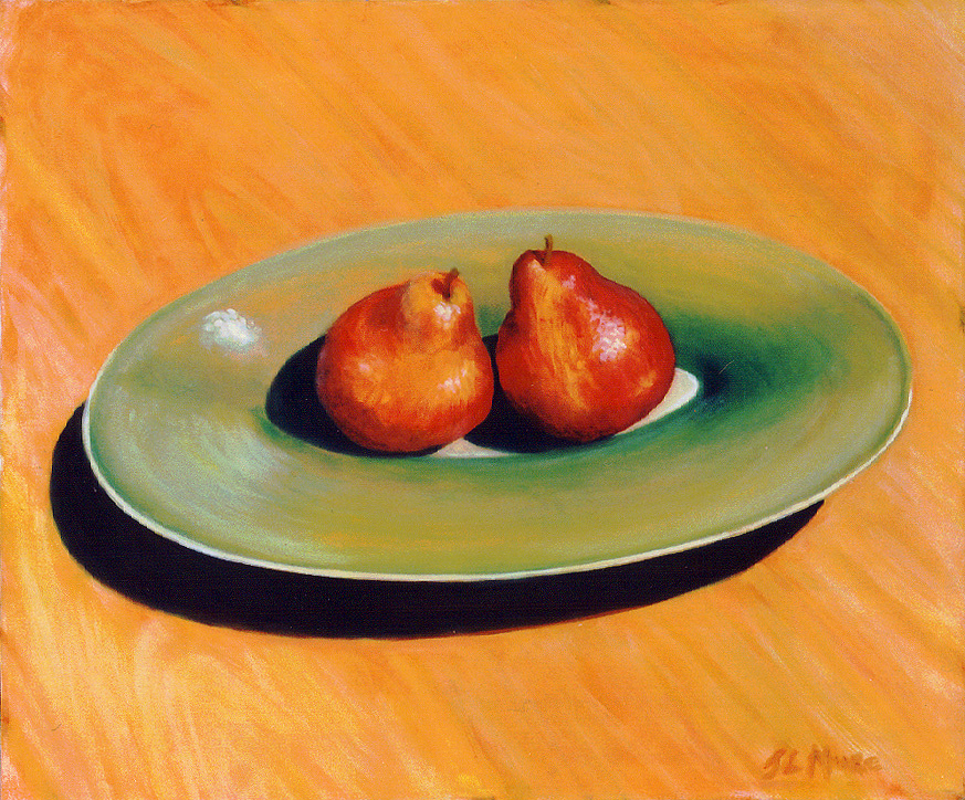"""Two Red Pears   20"""" x 24"""" Oil on Canvas"""