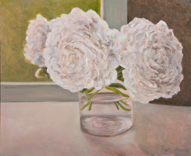 """Peonies After the Deluge   18"""" x 24"""" Oil on Canvas"""