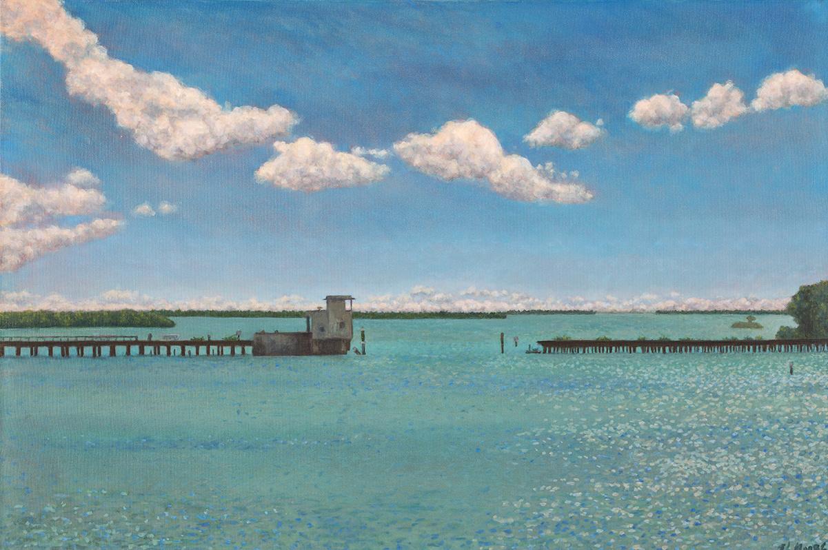 """Railroad Bridge, Boca Grande   24"""" x 36"""" Oil on Canvas"""