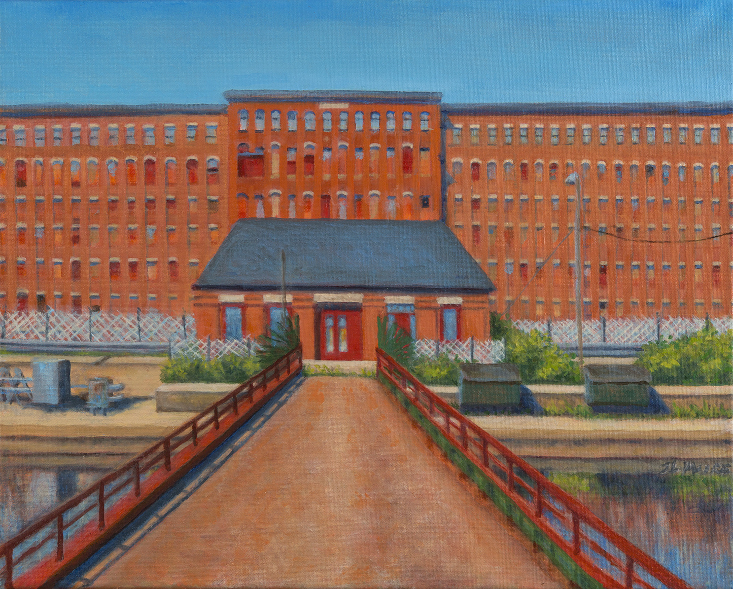 "Paymaster's Office, Hill Mill, Lewiston   16"" x 20"" Oil on canvas"
