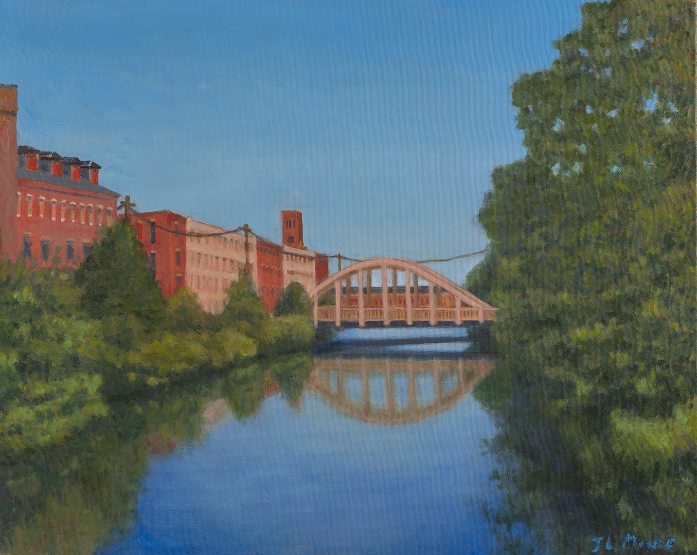 "Wiseman Bridge, Lewiston   16"" x 20"" Oil on canvas"