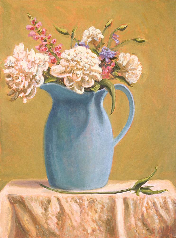 "Blue Pitcher Still Life   18"" x 24"" Oil on Canvas"
