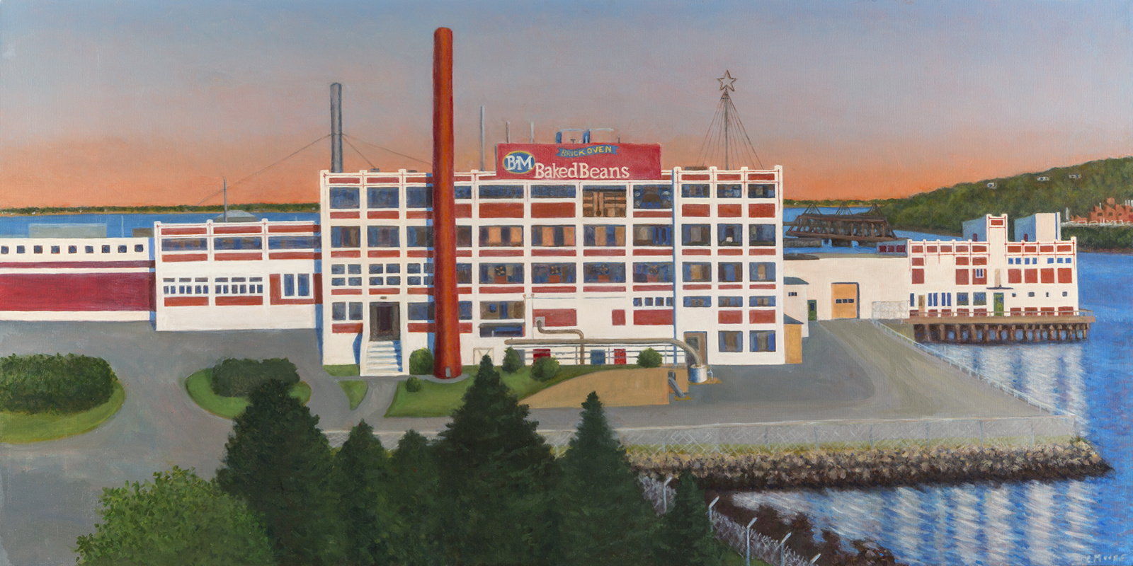 "Bean Factory, Portland   Oil on canvas, 24"" x 48"" 2015"
