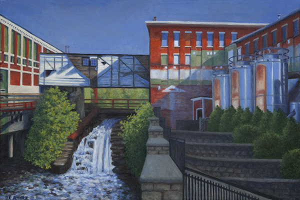 "Bates Mill Lower Canal   Oil on Canvas, 24"" x 36"" 2017"