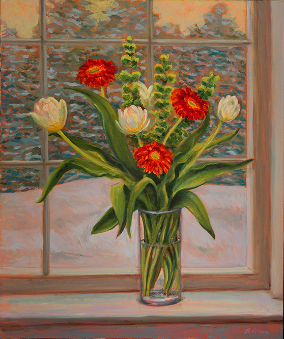 "We Have Everything Now (Gerber Daisies and Bells of Ireland in a snowstorm   Oil on Canvas, 36"" x 30"""