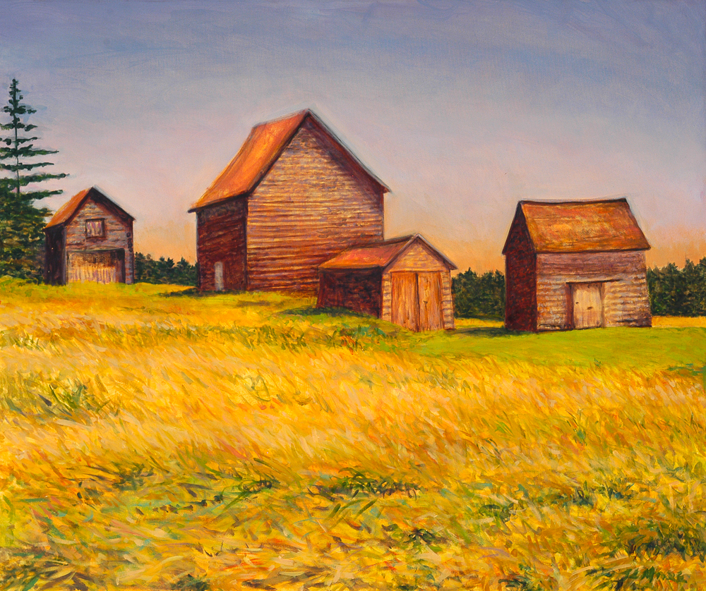 "Four Barns, Nova Scotia   30"" x 36"" Oil on Canvas"