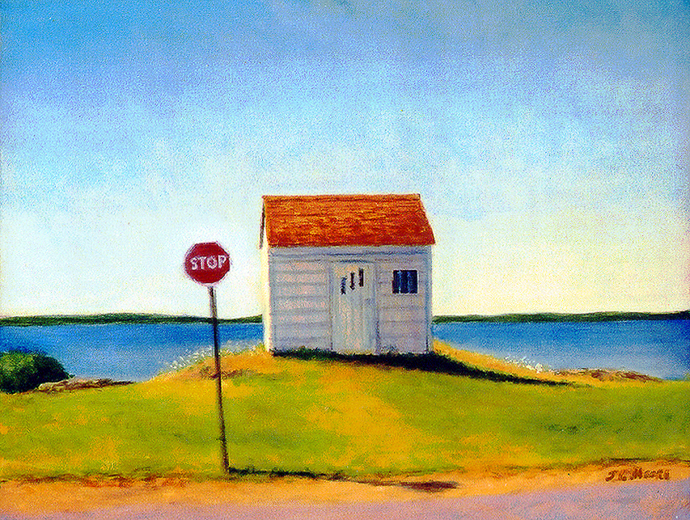 "Little White House. Blue Rocks   16"" x 20"" Oil on Canvas"