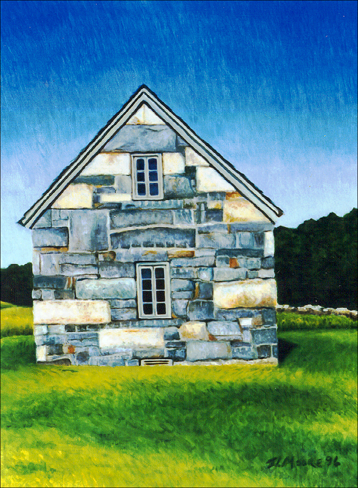 "Stone House, Port Clyde   24"" x 18"" Oil on Mahogany"