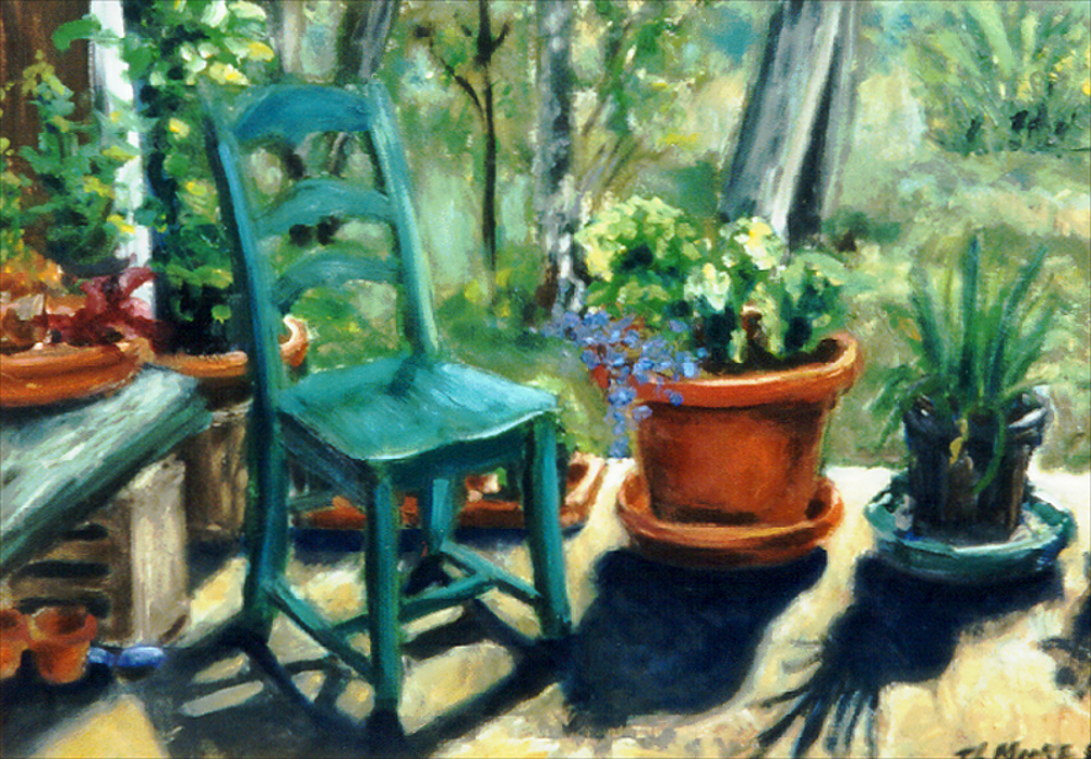 "Green Chair On Deck   17.5"" x 24.5"" Oil on Mahogany"